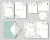 Set of botanical leaves wreath wedding invitation card.Green and mint color