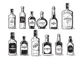 Vector set of bottles for alcohol