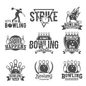Bowling vector logotypes, emblems and badges set. Club gaming play, skittle and strike illustration. Template for bowling club, tournament, champion, challenge.
