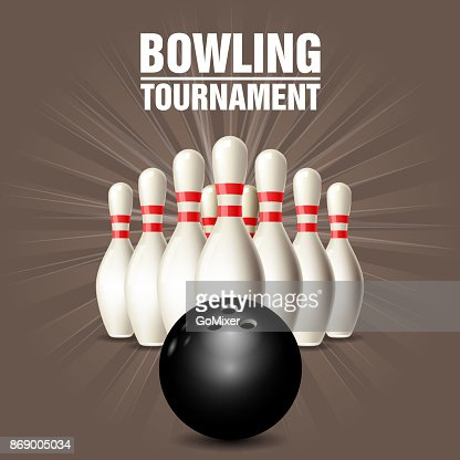 Set of bowling skittles and bowling ball - poster : stock vector