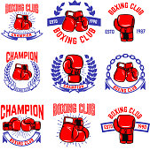 Set of boxing club emblems. Boxing gloves. Design elements for label, badge, sign, brand mark. Vector illustration
