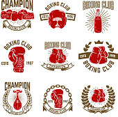 Set of boxing club emblems. boxing gloves. Design elements for label, emblem, sign. Vector illustration