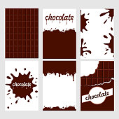 Set of bright food cards. Set of chocolate and  choco glaze. Seamless pattern, background, card, poster.