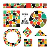 Vector Mosaic circle, square, triangle, border. Bright Mosaic textures for decoration.