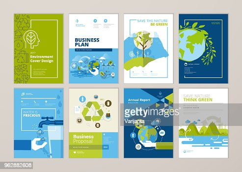 Set of brochure and annual report cover design templates of nature, green technology, renewable energy, sustainable development, environment : stock vector