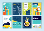 Vector illustrations for flyer layout, marketing material, annual report cover, business presentation template.