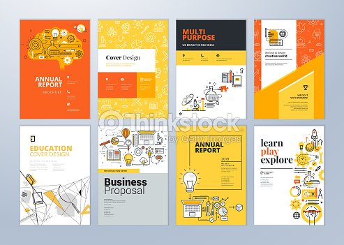 Set of brochure design templates on the subject of education, school, online learning. : stock vector