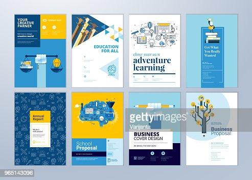 Set of brochure design templates on the subject of education, school, online learning. : Vector Art