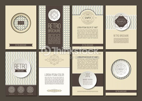 Set Of Brochures In Vintage Style Vector Design Layout Templates Art