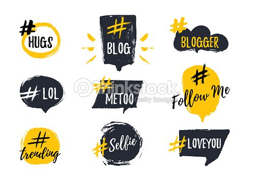 Set of bubbl banners with hashtags. trendy young slang words. Vector illustration : stock vector