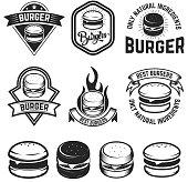 Set of burger labels. Design elements for emblem, menu, sign, poster. Vector illustration