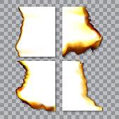 Set of burnt sheets of paper with ash. Damage edge and destroyed sheet. On transparent background vector illustration