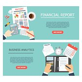 Report flat vector concept. Management of company, business analyst, financial report, resource management, planning. Banner, flyer with elements of infographics for advertising, animation, site.