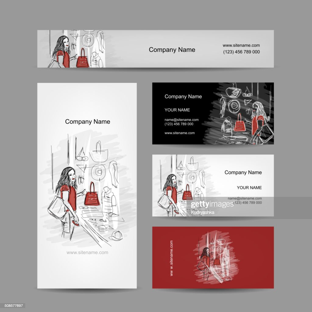 Set of business cards design, girl near the storefront : Vector Art