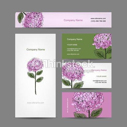 Jeu De Cartes Visite Design Fleur DHortensia Clipart Vectoriel