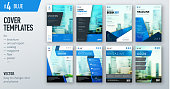 Set of business cover design template in blue color for brochure, report, catalog, magazine or booklet. Creative vector background concept