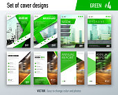 Set of business cover design template in green color for brochure, report, catalog, magazine or booklet. Creative vector background concept