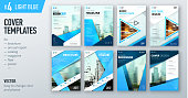 Set of business cover design template in light blue color for brochure, report, catalog, magazine or booklet. Creative vector background concept