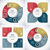 Set of business infographic circle templates. Can be used for presentation, workflow layout, brochure, chart, number  options, web design. Vector background banners with 4 steps, parts, options