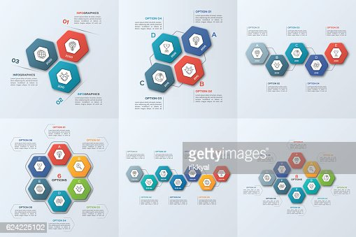 Set of business infographic templates with 3-8 steps : stock vector