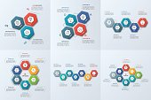 Set of business infographic templates with 3-8 steps, processes, parts, options.