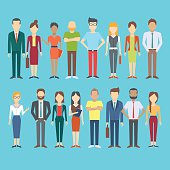 Set of business people, collection of diverse characters and dress styles in flat cartoon style, vector illustration