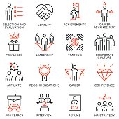 Vector set of 16 linear quality icons related to business management, strategy, career progress and business process. Mono line pictograms and infographics design elements - part 2
