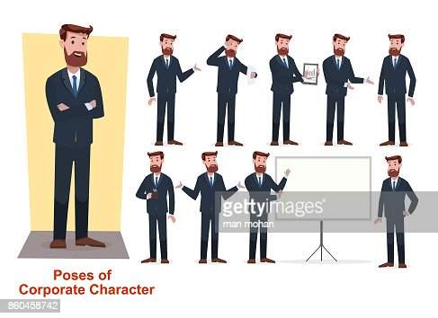 set of businessman character in office working model : stock vector