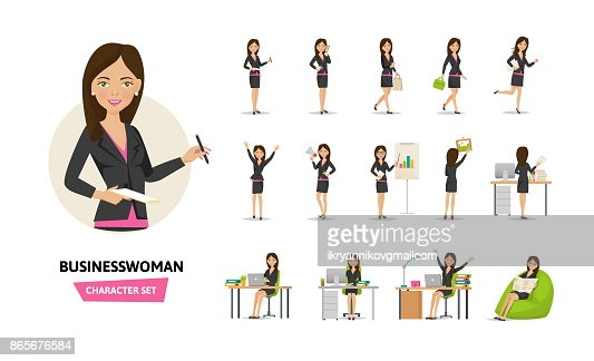 Set of businesswoman working character in office work situations : Vector Art