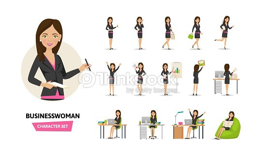 Set of businesswoman working character in office work situations : stock vector