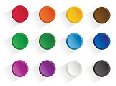 Set round multi-colored buttons with shadow. Vector, isolated objects on a white background
