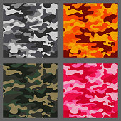 Set of camouflage seamless patterns background. Classic clothing style masking camo repeat print. Green,brown,black,olive,blue,ocean,pink,orange colors texture. Design element. Vector illustration.