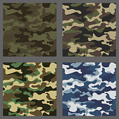 Set of camouflage seamless patterns background. Classic clothing style masking camo repeat print. Green,brown,black,olive,blue,ocean colors texture. Design element. Vector illustration