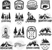 Set of camping emblems isolated on white background. Hiking, tourism, outdoor adventure. Design elements for label, emblem, sign. Vector illustration