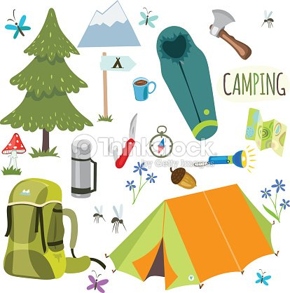 Set Of Camping Equipment And Objects In Vector Art
