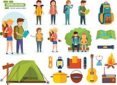 Big set of camping and hiking. Journey and travel by nature. Tourists, engaged in hiking, camping, as well as basic equipment and tools in joint hikes couple. Vector illustration, people in cartoon st