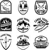 Set of canoeing badges isolated on white background. kayaking, canoe tours. Design elements for label, emblem, sign. Vector illustration