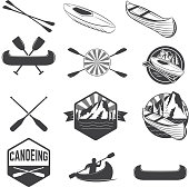 Set of canoeing labels and design elements. kayak labels. Rafting. Vector design elements for label, emblem. Vector illustration.