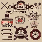 Set of Car service icons. Auto parts. Retro vintage car labels set. Design elements for logo, label and emblem design.
