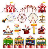 Set of carnival objects illustration