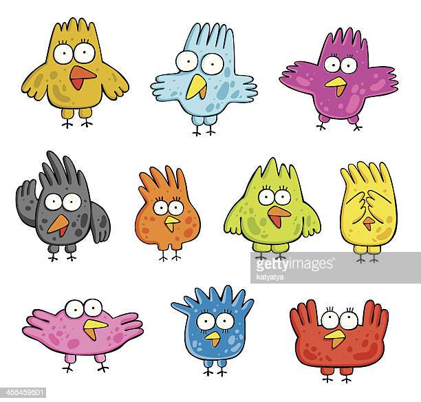 set of cartoon birds