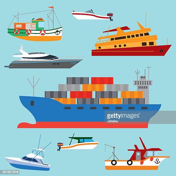 Conjunto de historieta de las embarcaciones y los buques