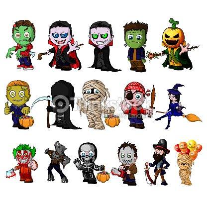 Conjunto De Personajes De Dibujos Animados De Halloween Arte ...