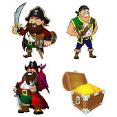 A set of cartoon characters pirates and treasure chest