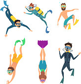 Set of cartoon characters. Underwater divers man and woman with snorkel and mask, vector illustration