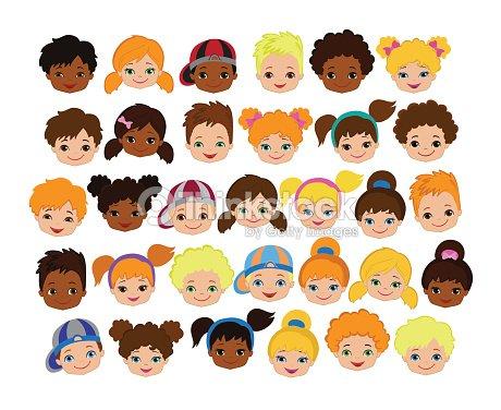 Satz Von Cartoon Kinder Gesichter Comic Kind Gesichtsymbol ...
