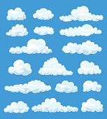 Big set of vector cartoon clouds. 17 different cloud.