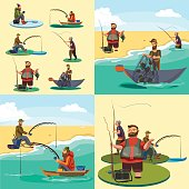 Set of cartoon fisherman catches fish sitting boat fisher threw fishing rod into water, happy fishman holds catch and spin, man pulls net out of the water, fishing on ice icon vector illustration.
