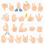 Set of cartoon hands icons and symbols. Emoji hand icons. Different hands, gestures, signals and signs, vector illustration collection