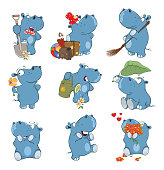 Set of various blue small cheerful hippopotamuses